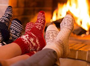foot near a fireplace