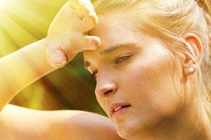 Woman sweating in need of ac repair