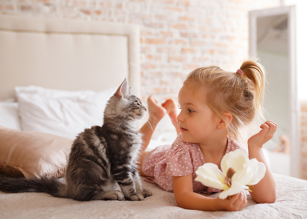 photo of girl and kitten