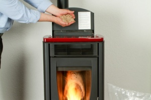 family that has wood pellet stove as a heating option in finished basement